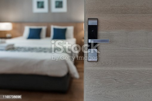 Hotel room , Condominium or apartment doorway with open door in front of blur bedroom background