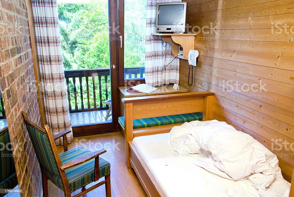 hotel room in cheap rural hostel royalty-free stock photo