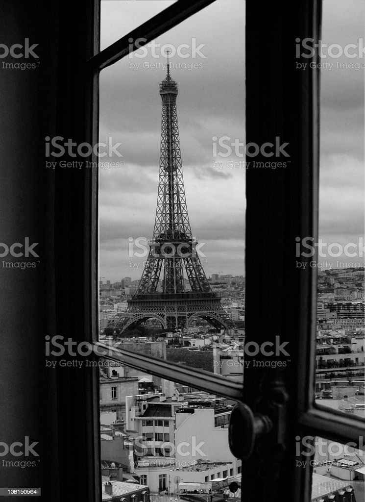 Hotel room in Paris with view on the Eiffel Tower royalty-free stock photo