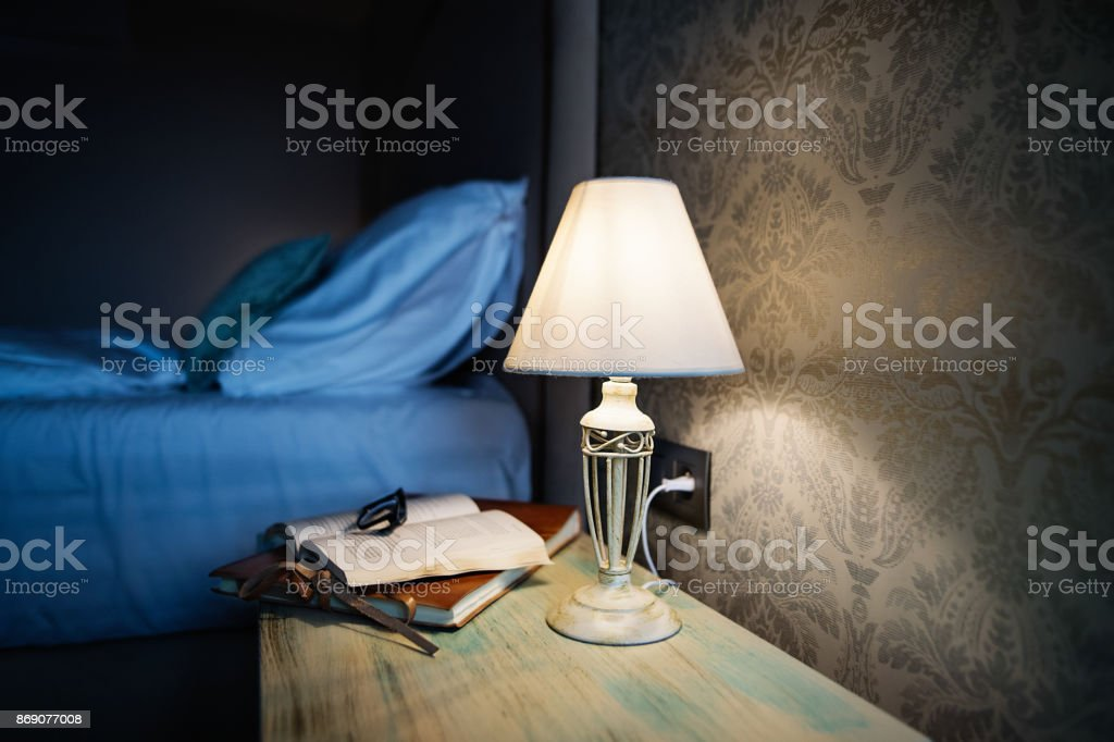 Hotel room in the evening. stock photo