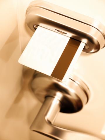 Hotel room keycard door lock