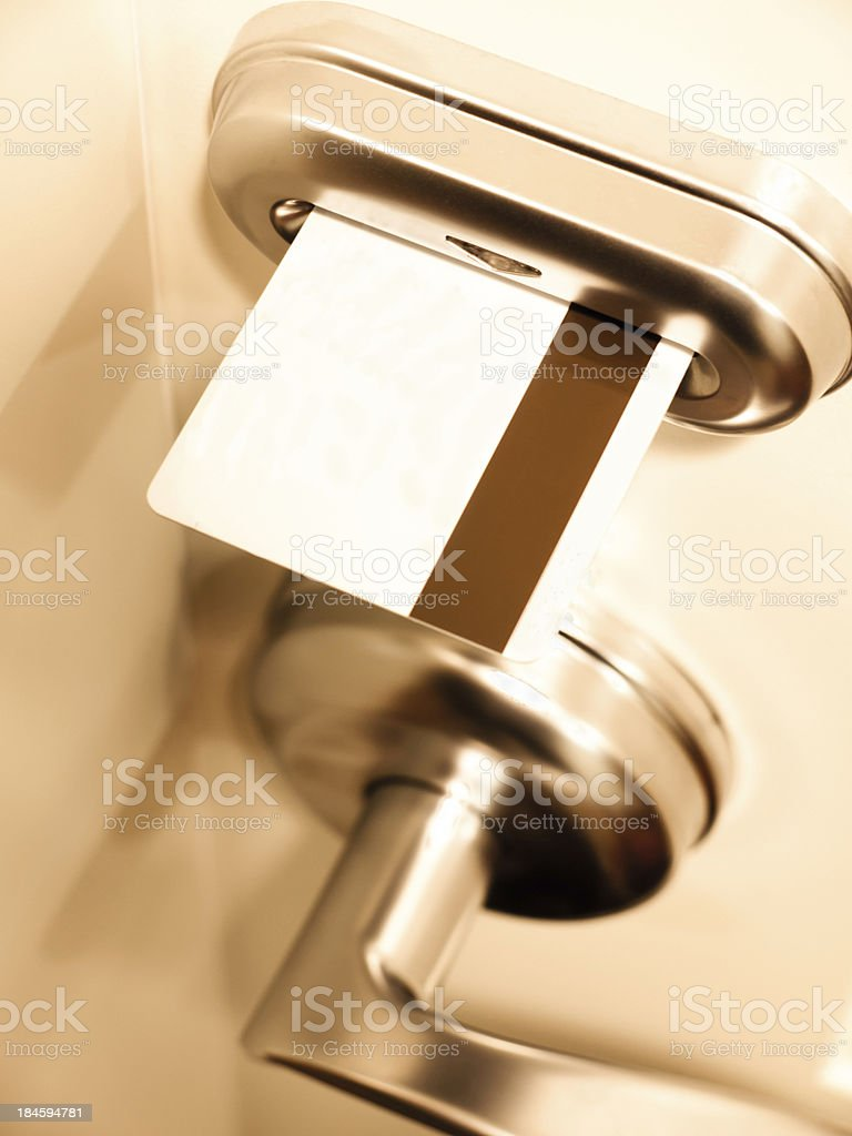 Hotel Room Keycard Door Lock stock photo