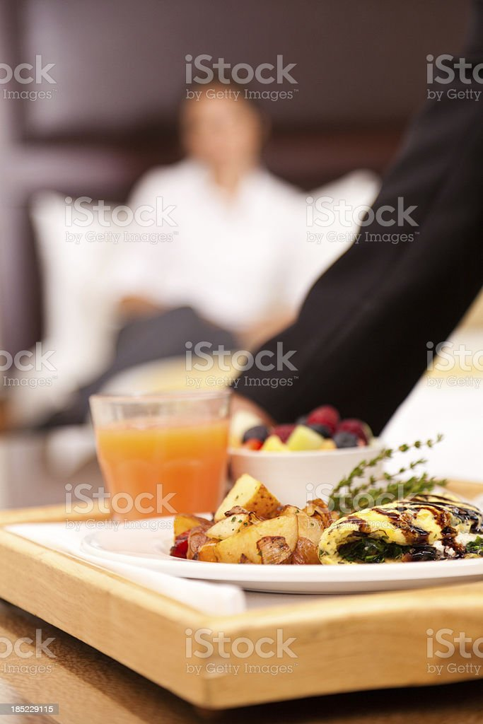 Hotel room service for breakfast stock photo