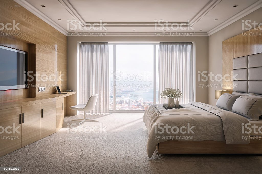 Hotel Room Suite with View stock photo