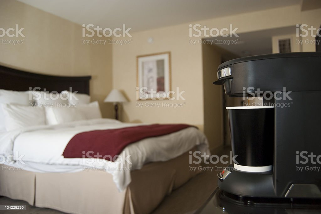 Hotel room with coffee maker royalty-free stock photo