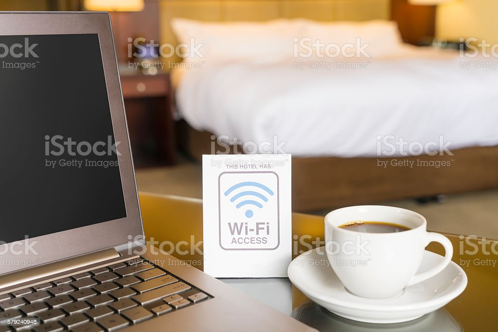 Hotel room with wifi access sign stock photo