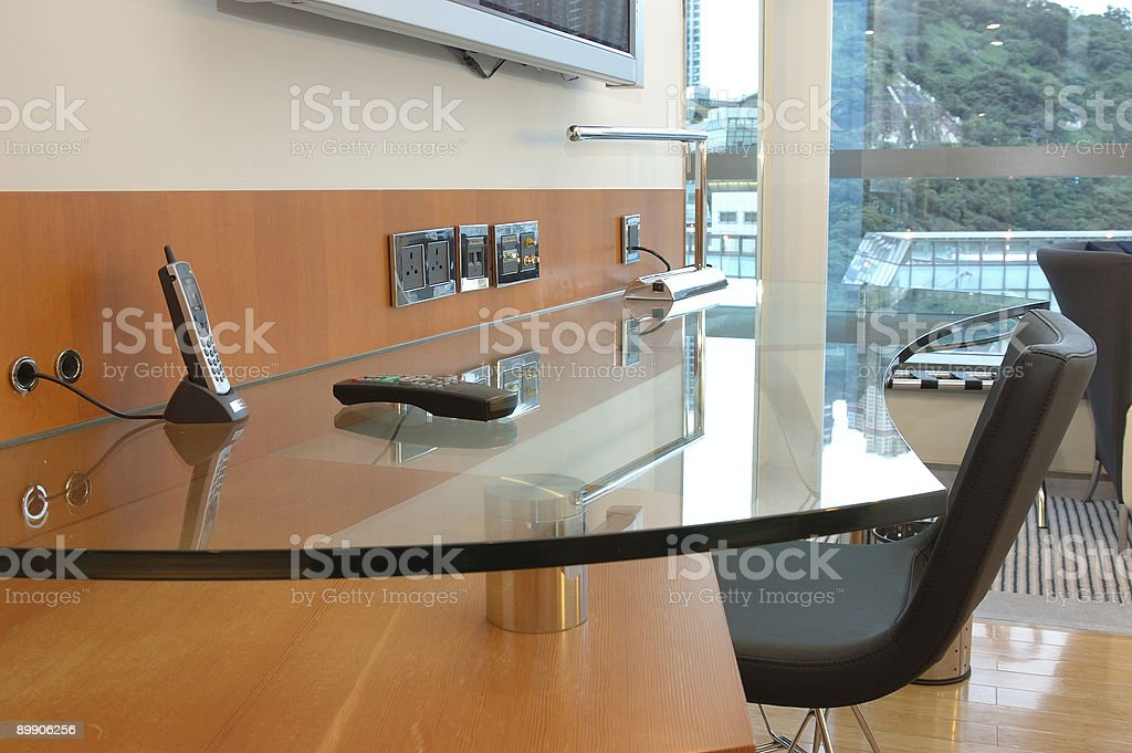 Hotel room work desk royalty-free stock photo