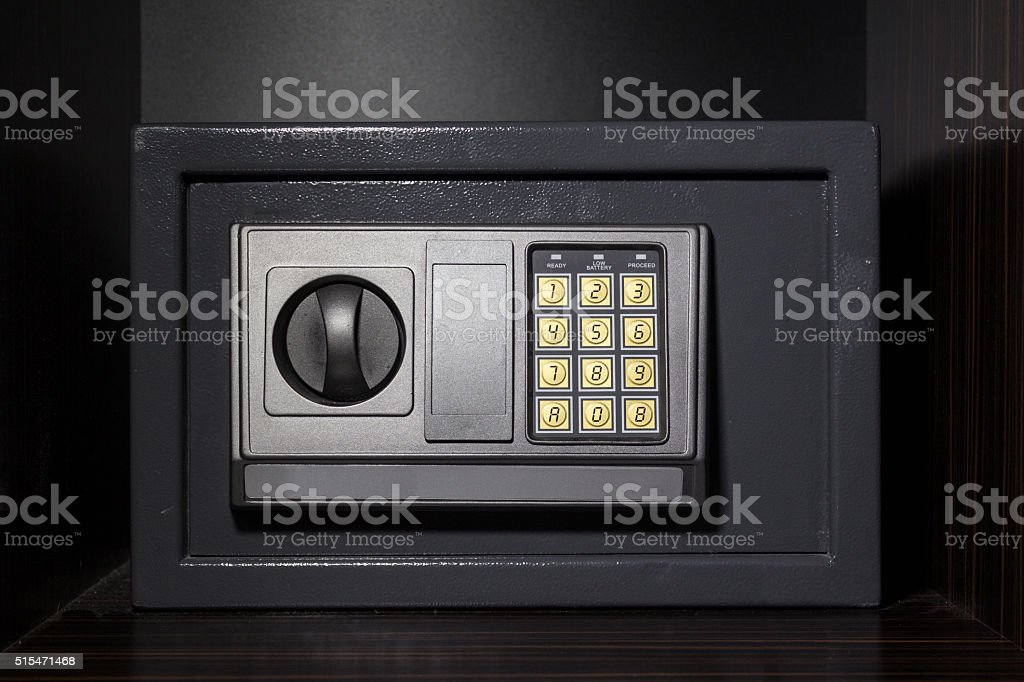 hotel safe box with digital lock stock photo