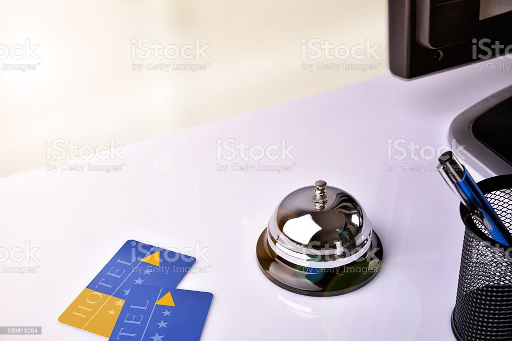 Hotel service bell and card room access elevated view stock photo
