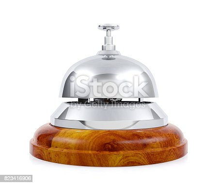 840883328 istock photo Hotel service bell isolated on white background 823416906