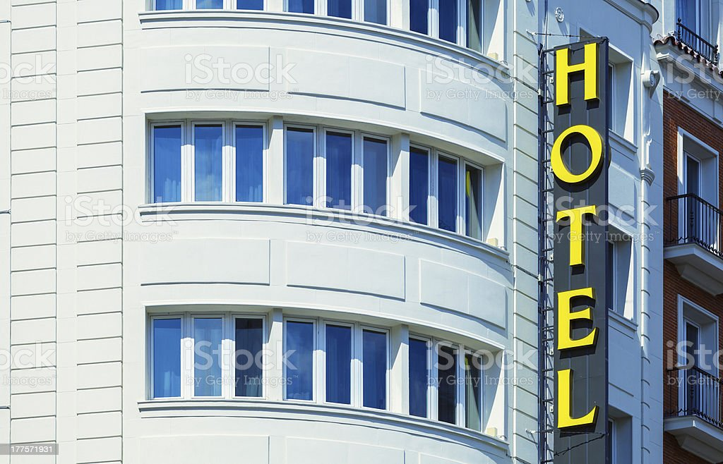 Hotel Sign in a Classic Building royalty-free stock photo