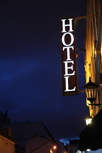 Hotel sign in Paris stock photo