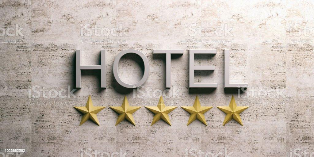 Hotelschild auf Marmor Hintergrund. 3D illustration – Foto