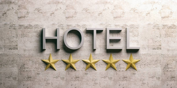 Hotel sign on marble background. 3d illustration stock photo