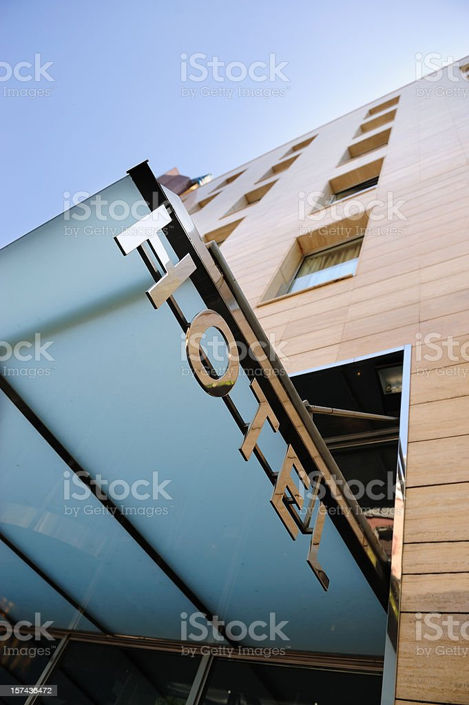 Hotel sign over building entrance royalty-free stock photo
