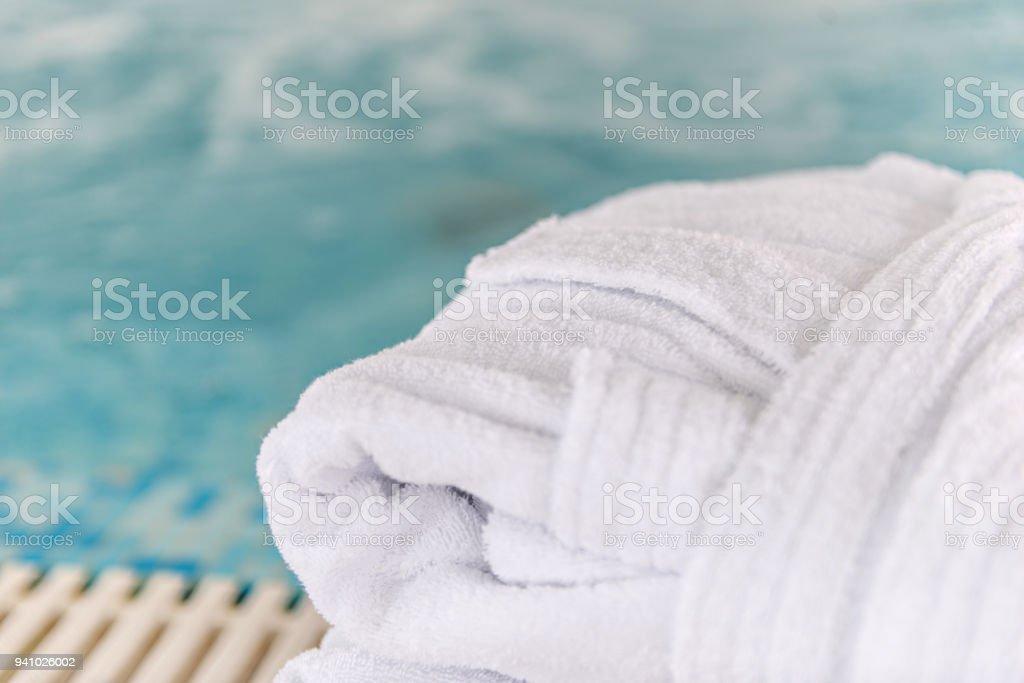 Hotel Spa Swimming Pool Bathrobe Towels Stock Photo ...
