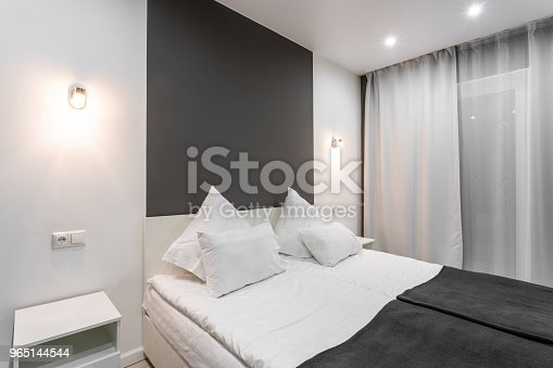 Hotel Standart Room Modern Bedroom With White Pillows Simple And Stylish Interior Interior Lighting Stock Photo & More Pictures of Apartment