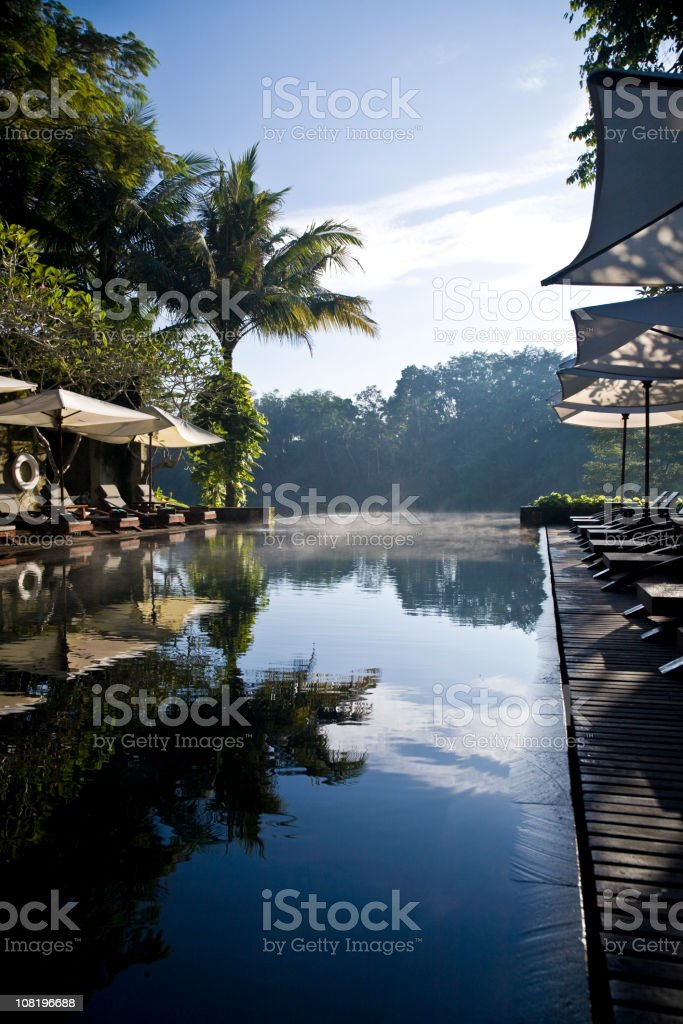 Hotel Swimming Pool in Bali Jungle Valley stock photo