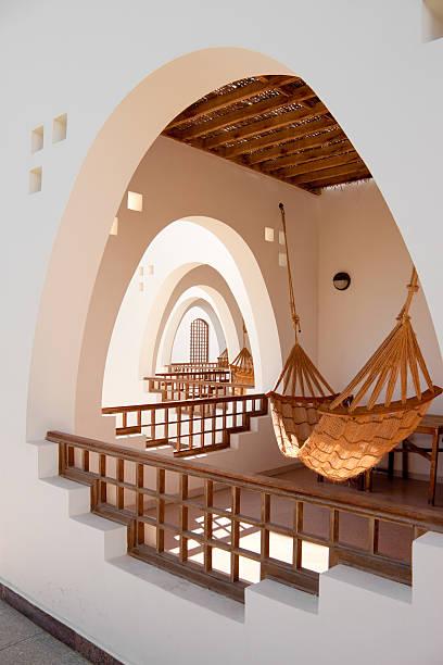 hotel terraces with hammocks stock photo