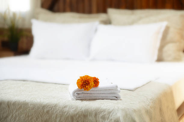 hotel towels luxury hotel towels inn stock pictures, royalty-free photos & images