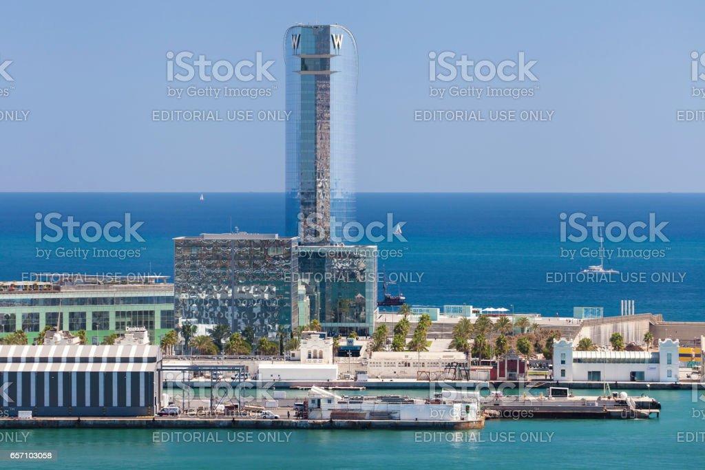 Hotel W Barcelona from Montjuic stock photo