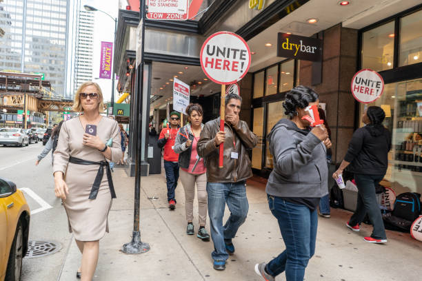Hotel workers striking downtown Chicago stock photo