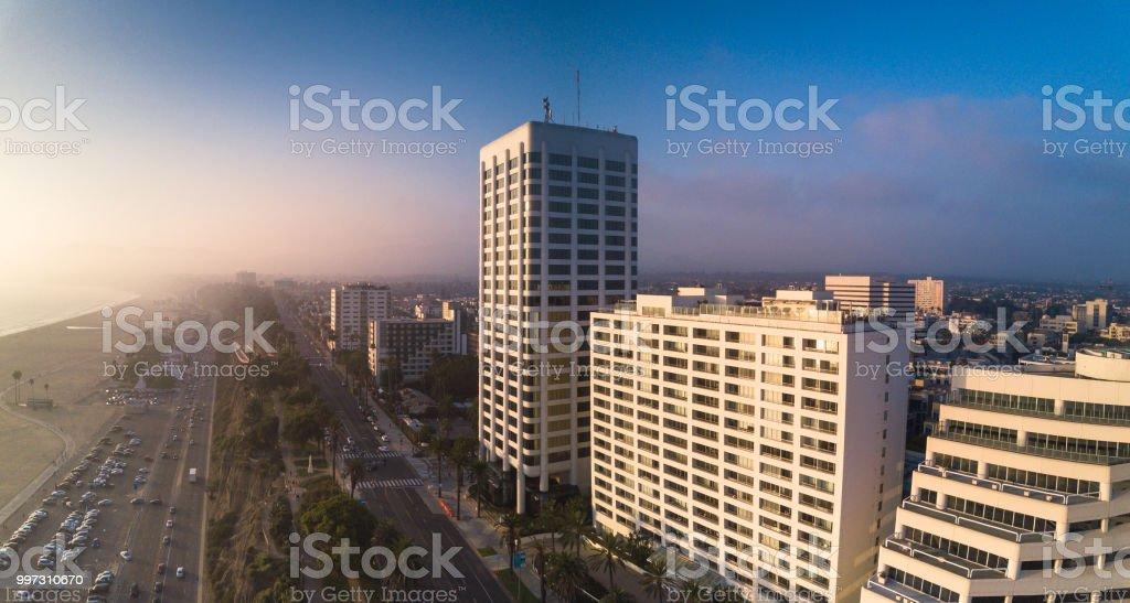 Hotels and Beaches in Santa Monica, California - Aerial Panorama stock photo