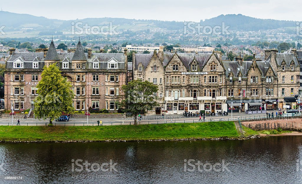Hotels and restaurants in Ness Walk in Inverness stock photo