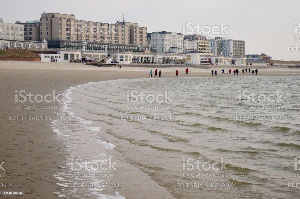 Hotels at the beach of east frisian Northsea island Borkum stock photo