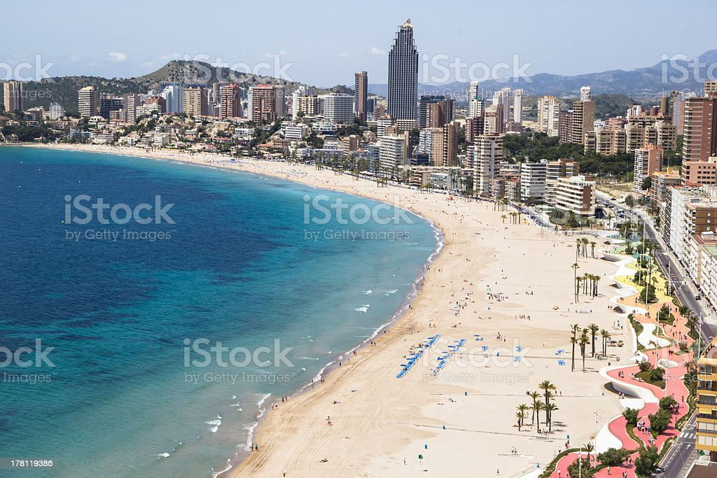 Hotels, beach of Benidorm. Sky and sea. stock photo