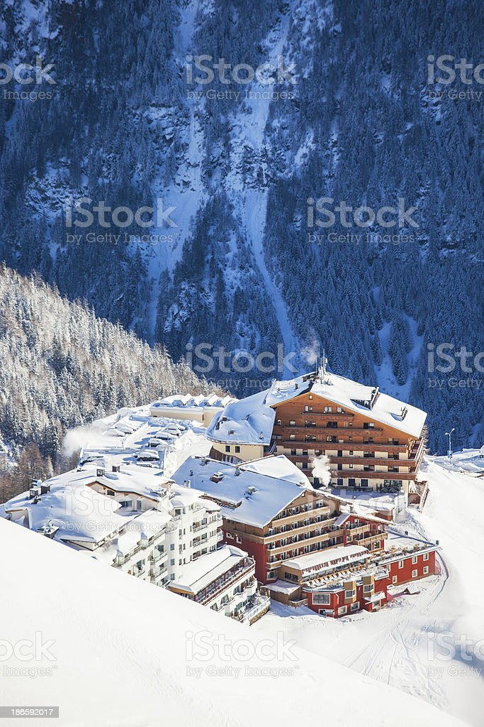 Hotels in Austrian Alps royalty-free stock photo