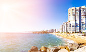 Hotels on the sand beach in Vina del Mar, Chile