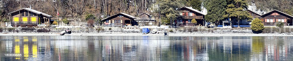 Hotels on the lake with a beautiful reflection, Interlaken, Swit royalty-free stock photo
