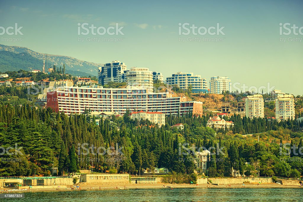 Hotels on the waterfront in the Crimea. Beach Black Sea stock photo