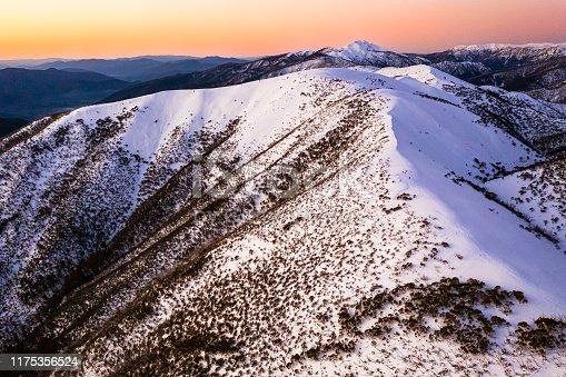 Razorback Hiking Trailhead at Mt. Hotham Victoria Australia, at dusk / sunset with snow.