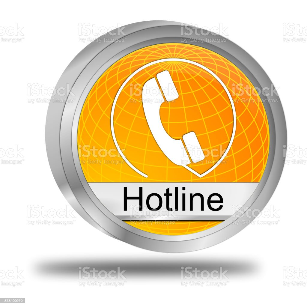 Hotline Button - 3D illustration stock photo