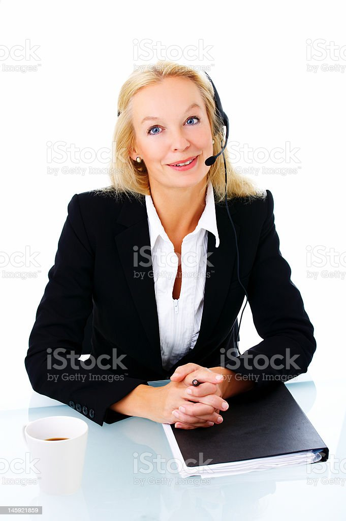 Hotline operator with headset royalty-free stock photo