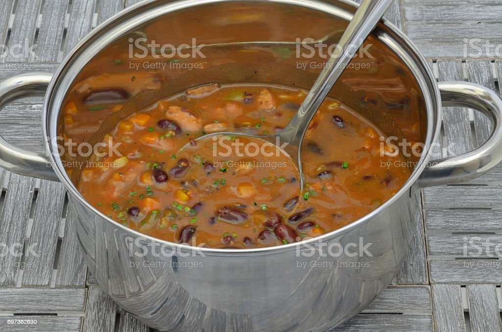Hotpot with Kidney beans and Chili stock photo