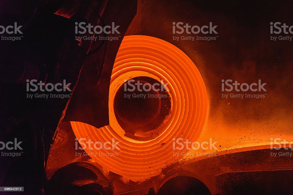 Hot-rolled steel process in steel industry royalty-free stock photo