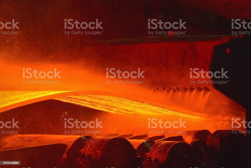 Hot-rolled steel process in steel industry Hot-rolled steel process in steel industry Backgrounds Stock Photo
