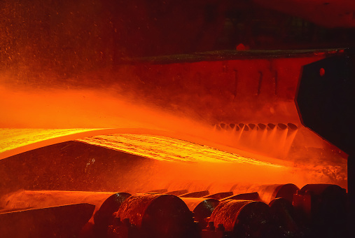 Hotrolled Steel Process In Steel Industry Stock Photo - Download Image Now