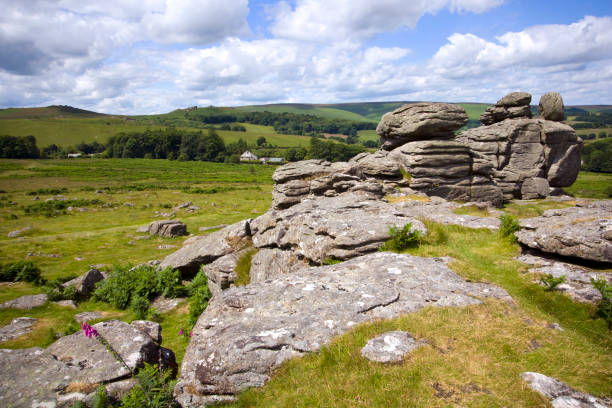 hound tor, dartmoor, devon - outcrop stock pictures, royalty-free photos & images