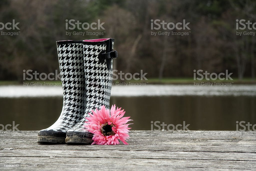 Houndstooth boots stock photo