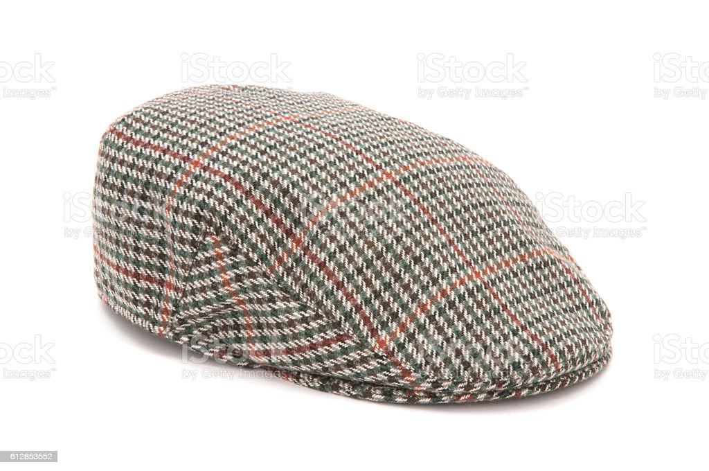Houndstooth Tweed Hunting Flat Cap stock photo