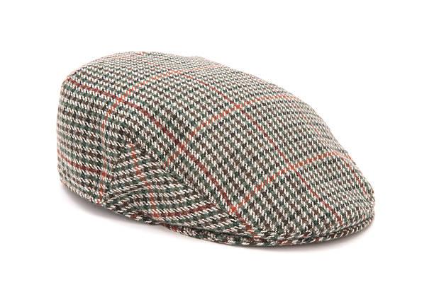 houndstooth tweed hunting flat cap - schiebermütze stock-fotos und bilder