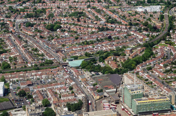 Hounslow East station and surrounds, aerial view stock photo