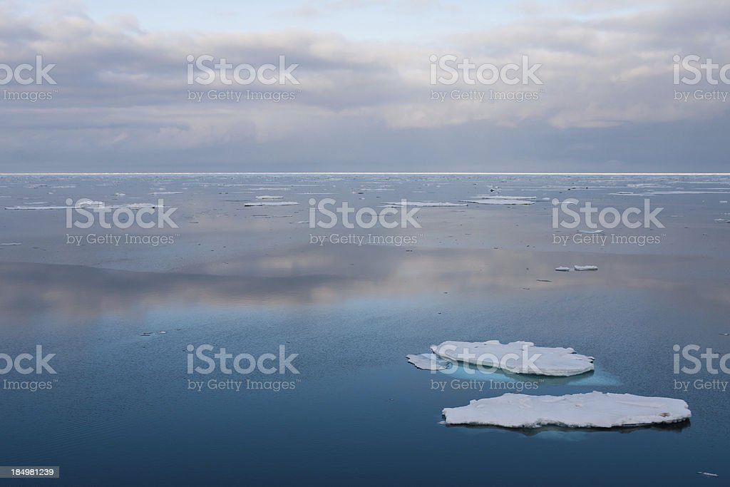 24 hour daylight over Svalbard in the Arctic stock photo