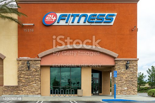 Fontana, CA / USA – April 19, 2020: Located in Fontana, California, 24 Hour Fitness is temporarily closed during the COVID-19 crisis.