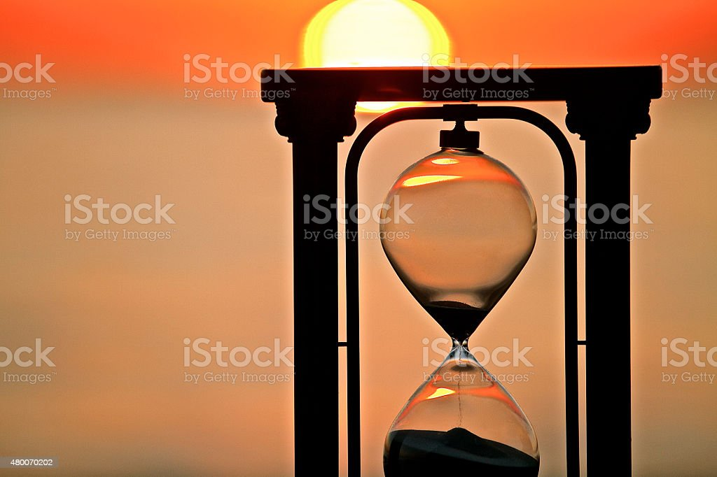 Hour Glass in sunset stock photo