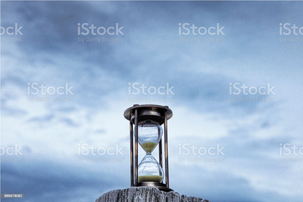 Hourglass Blue Sky stock photo